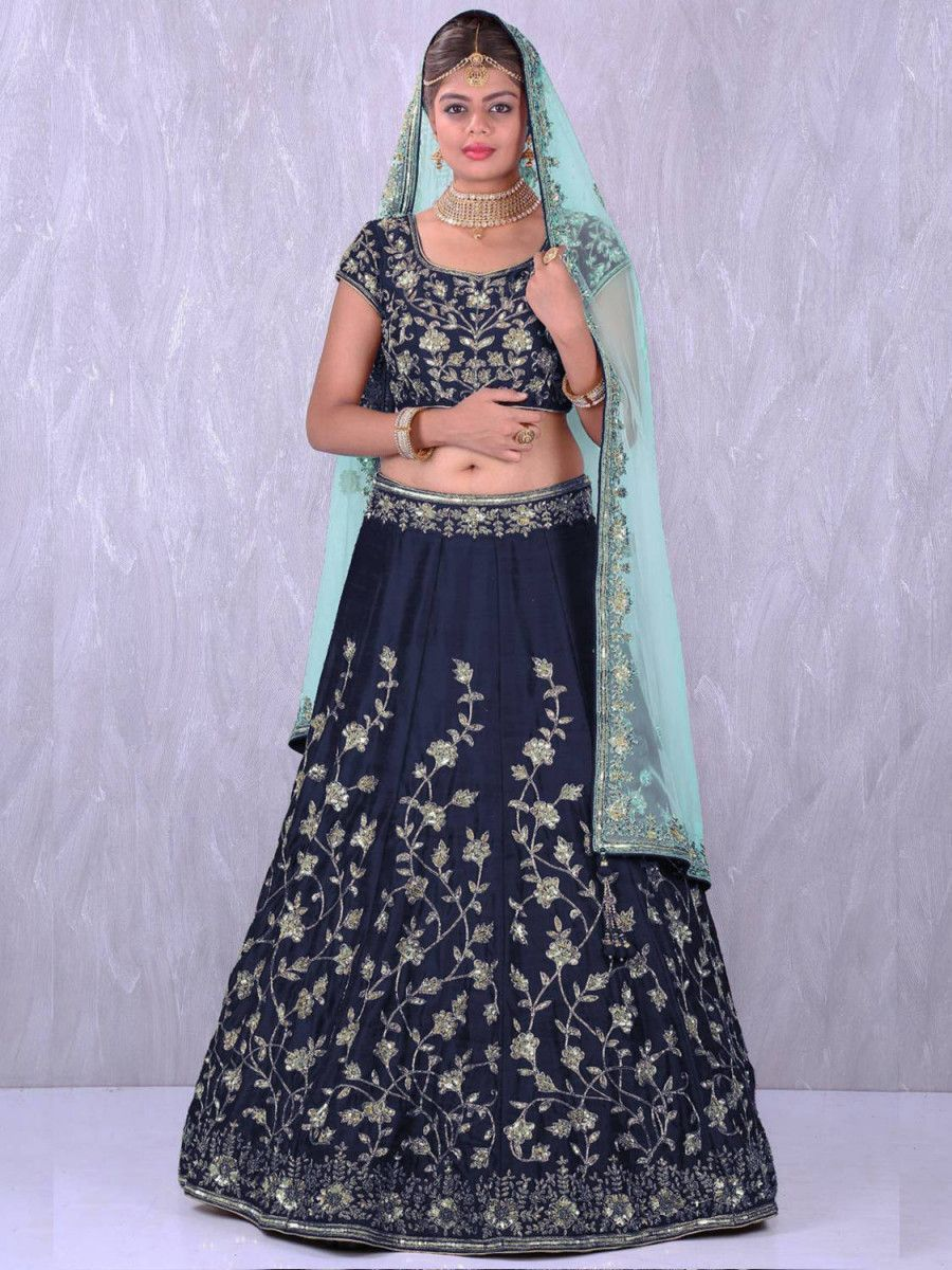 Navy Blue Embroidery Banglori Silk Bridal Lehenga Choli