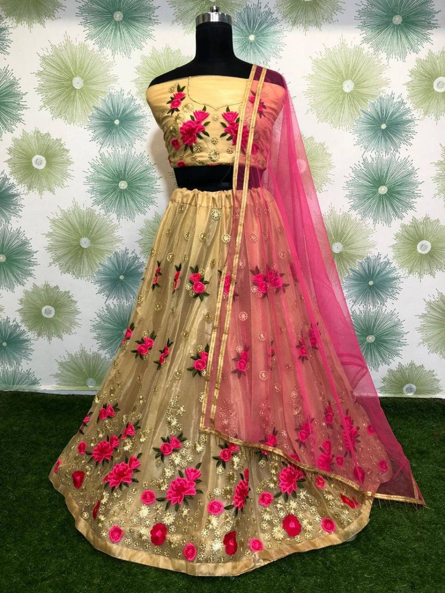 Beige Zari Embroidered Net Party Wear Lehenga Choli With Pink Dupatta