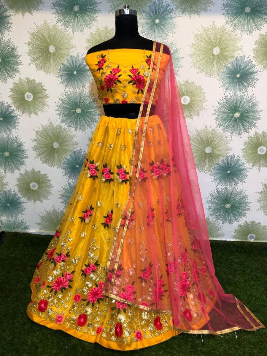 Yellow Zari Embroidered Net Party Wear Lehenga Choli With Pink Dupatta