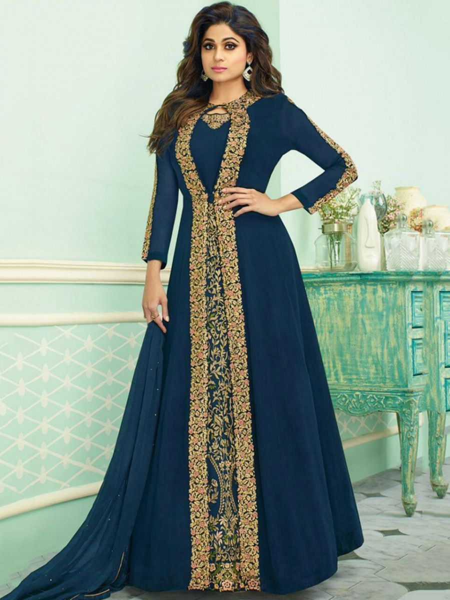 Shamita Shetty Blue Embroidered Georgette Party Wear Jacket Gown