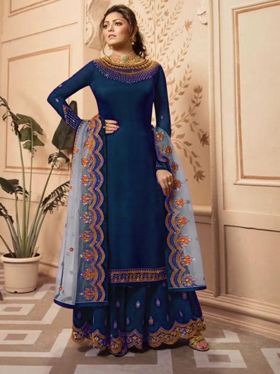 Drashti Dhami Blue Embroidered Satin Festive palazzo Suit
