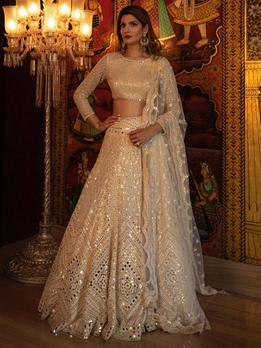 Beige Foil Mirror Thread Work Wedding Wear Lehenga Choli With Dupatta
