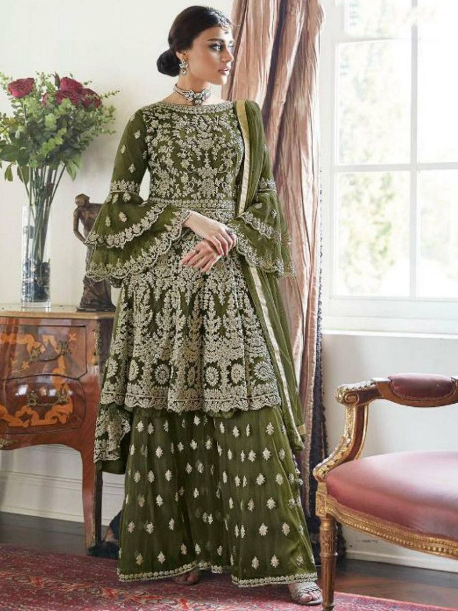 Green Embroidered Net Festival Wear Pakistani Sharara Suit