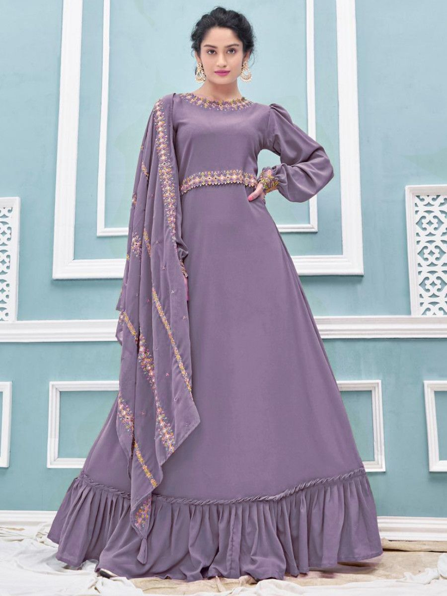 Lilac Embroidered Georgette Party Wear Gown With Dupatta