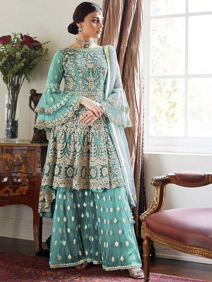 Sky Blue Embroidered Net Festival Wear Pakistani Sharara Suit