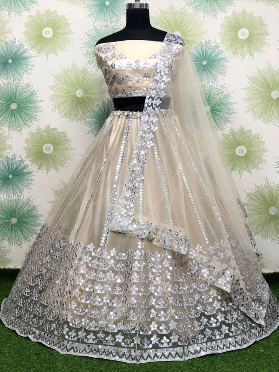 Cream Foil Work Net Party Wear Lehenga Choli With Blouse