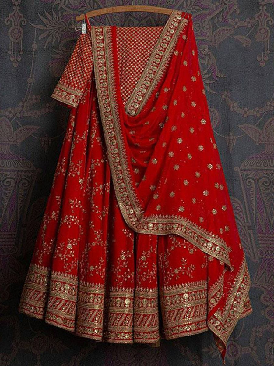 Red Embroidered Georgette Bridal Lehenga Choli With Dupatta