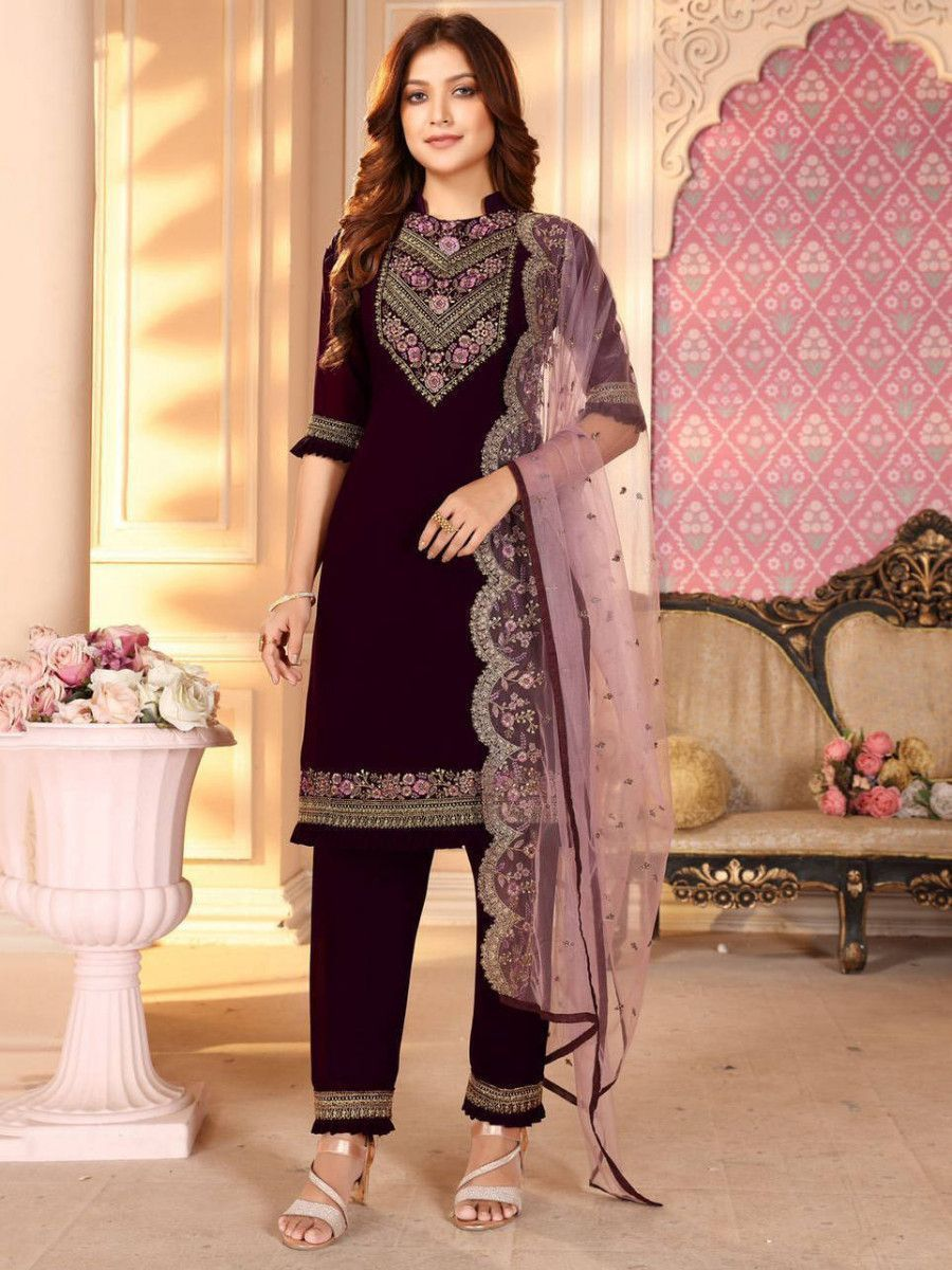 Wine Embroidered Georgette Festival Wear Straight Pant Suit