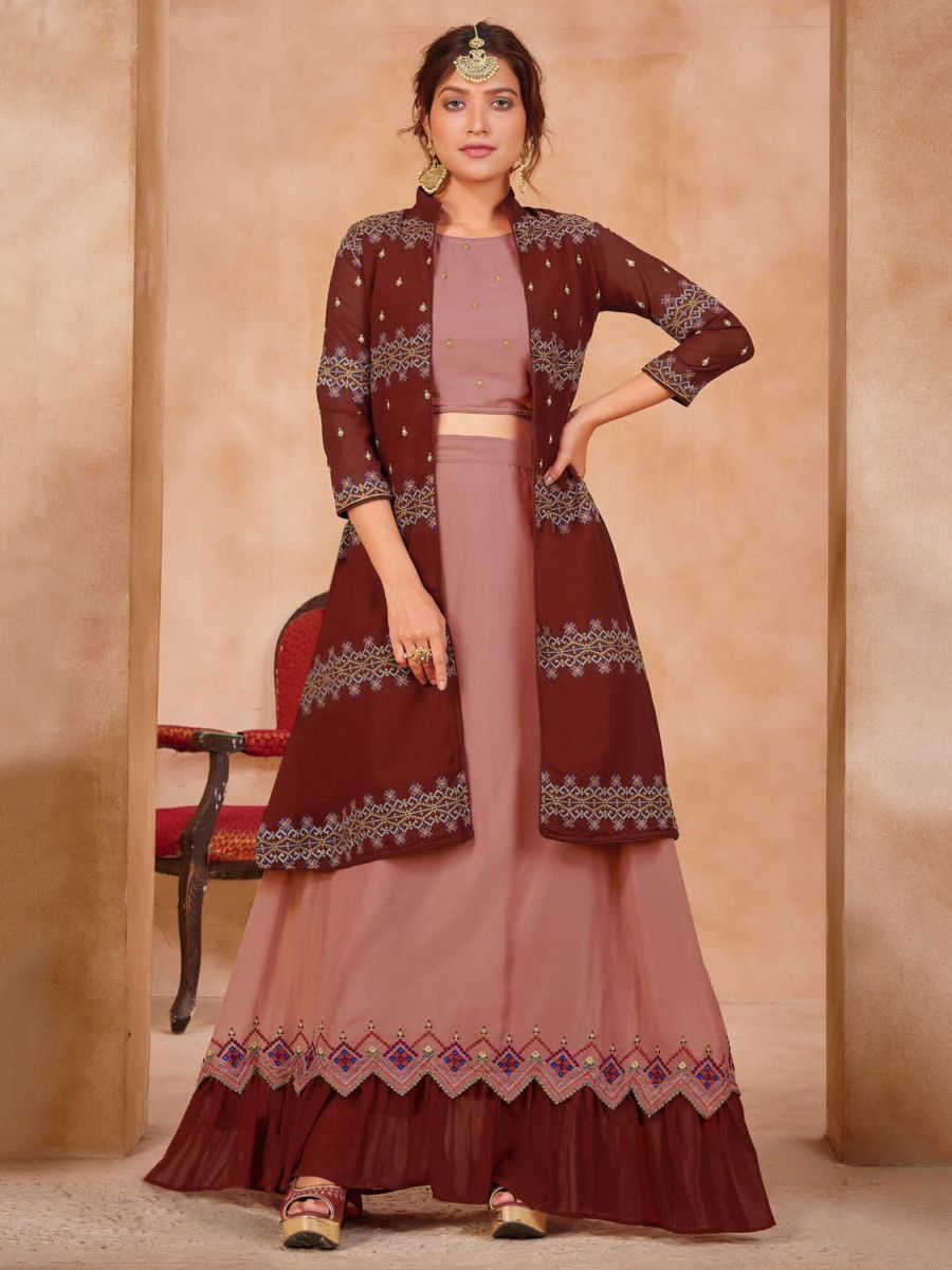Maroon & Pink Embroidered Georgette Party Wear Lehenga With Jacket
