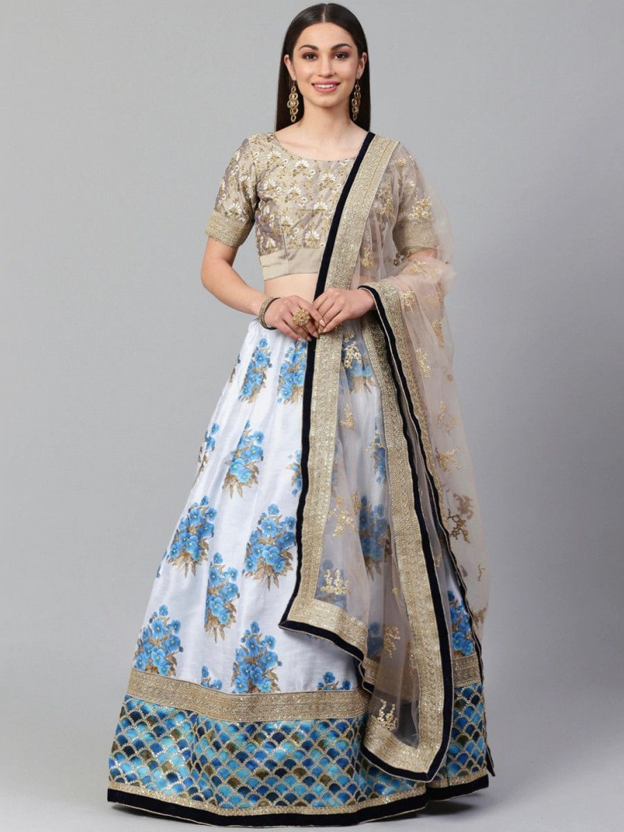 White & Taupe Embroidered Semi-Stitched Myntra Lehenga & Unstitched Blouse with Dupatta