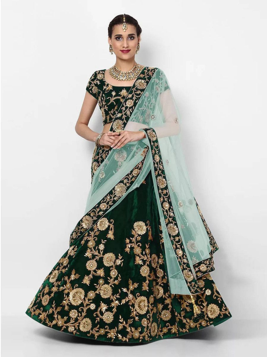 Bottle Green Embroidered Velvet Bridal Lehenga Choli With Pastel Green Dupatta