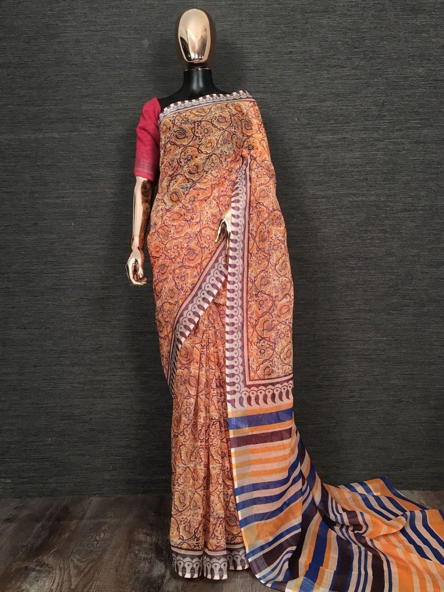 Cream Floral Printed Linen Festive Wear Saree With Blouse