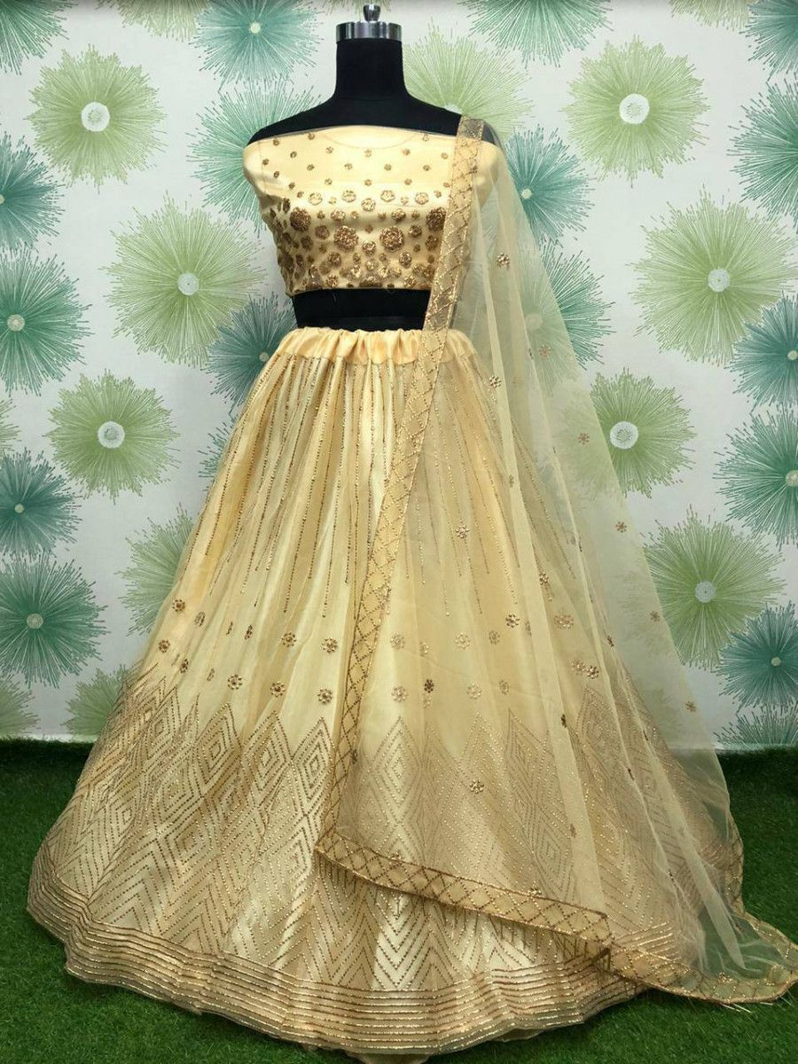 Yellow Badla Work Net Festive Wear Lehenga Choli