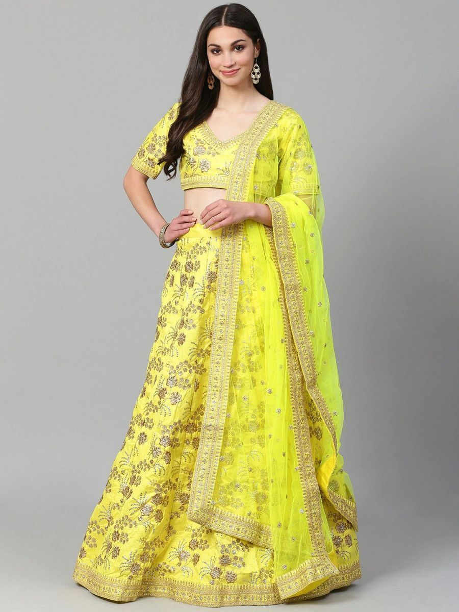Yellow & Gold-Toned Embroidered Semi-Stitched Myntra Party Wear Lehenga & Unstitched Blouse with Dupatta