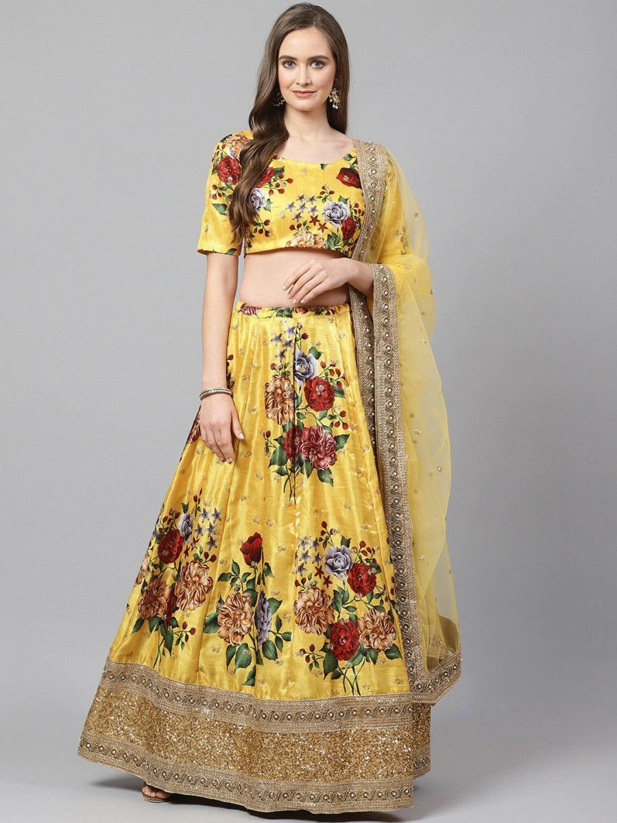 Yellow & Burgundy Printed Semi-Stitched Myntra Lehenga & Unstitched Blouse with Dupatta