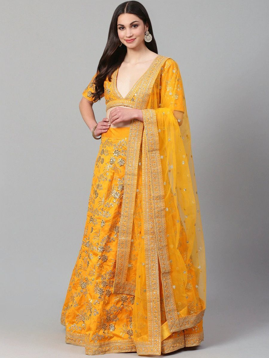 Mustard & Golden Semi-Stitched Myntra Lehenga & Blouse with Dupatta