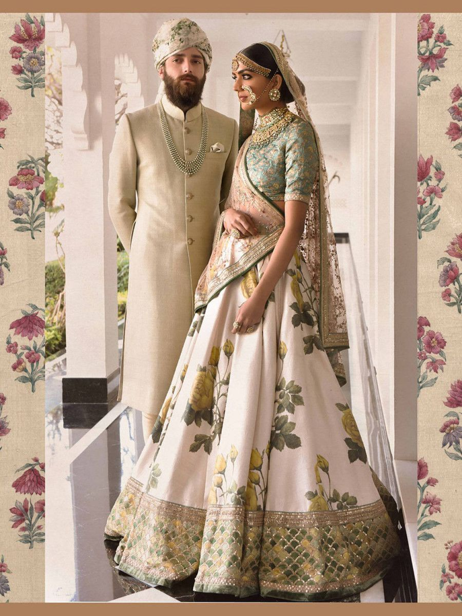 Off White-Yellow Rose Floral Print Silk Lehenga Choli