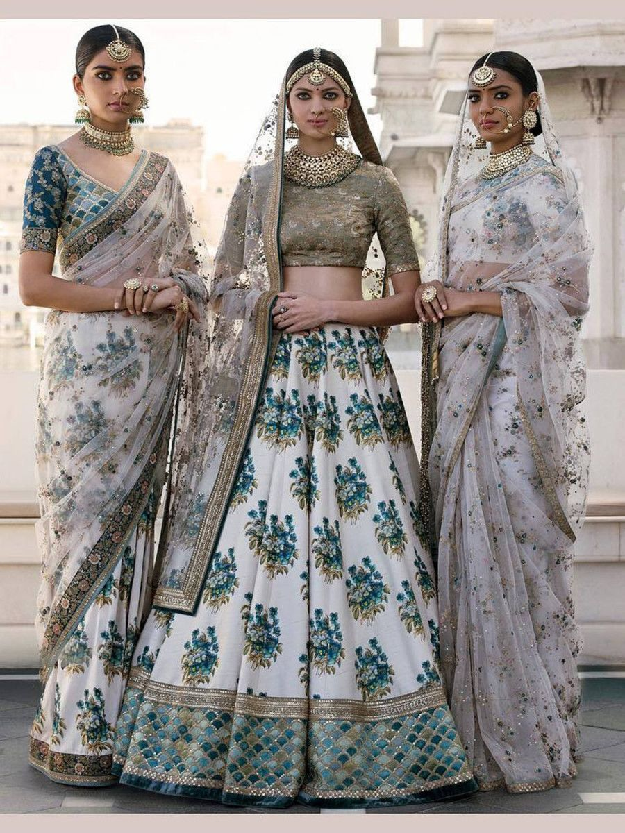 Off-White Flower Print Silk Wedding Lehenga Choli