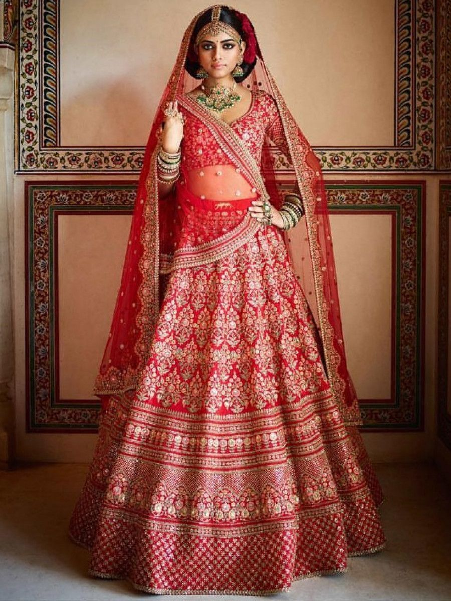 Sabyasachi Red Embroidered Art Silk Bridal Lehenga Choli