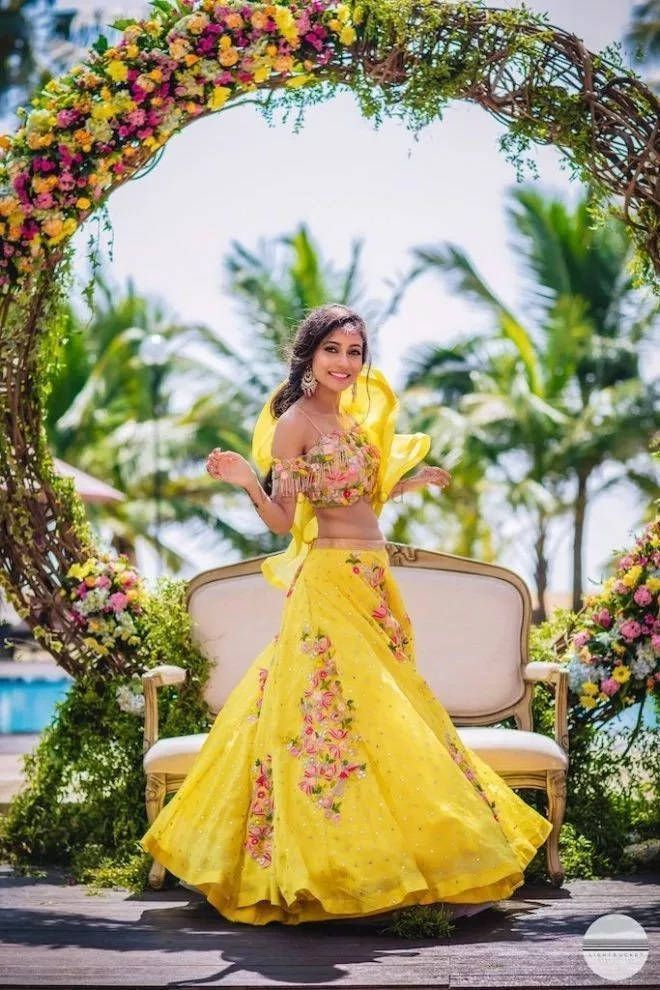 Bright yellow lehenga choli