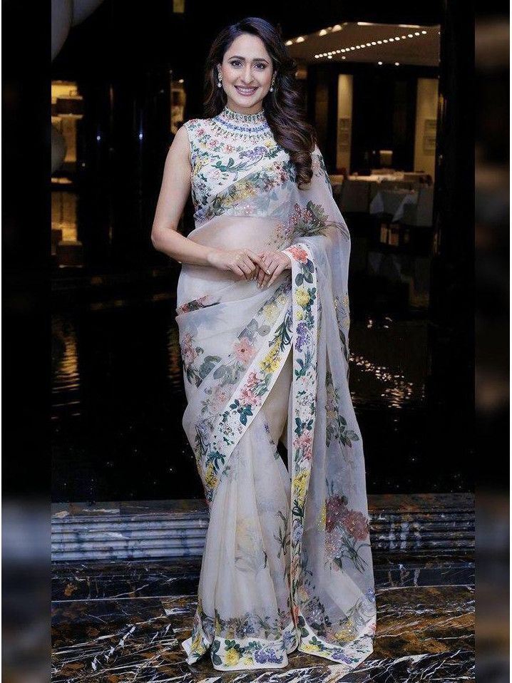white floral saree by ritu kuamr