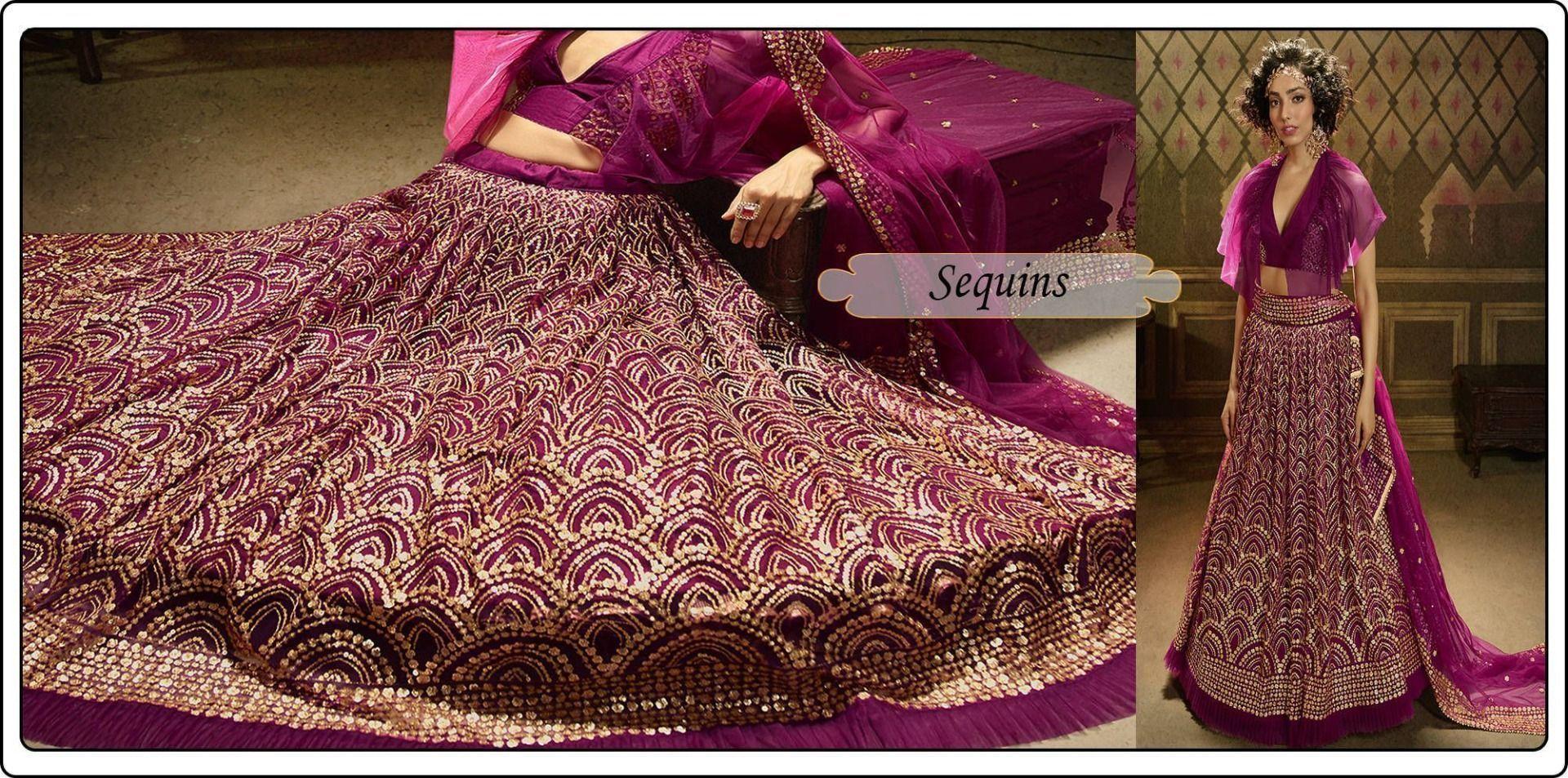 Sequins work lehenga